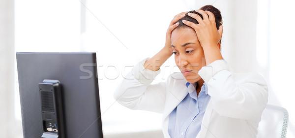 Stockfoto: Afrikaanse · vrouw · computer · business · kantoor · school