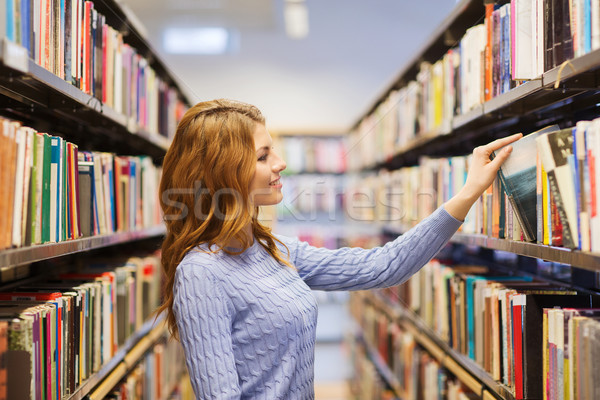 Stock foto: Glücklich · Studenten · Mädchen · Frau · Buch · Bibliothek