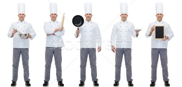 幸せ 男性 シェフ 調理 メニュー ストックフォト © dolgachov