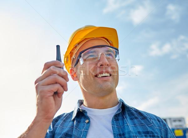 Közelkép építész munkavédelmi sisak adóvevő ipar épület Stock fotó © dolgachov