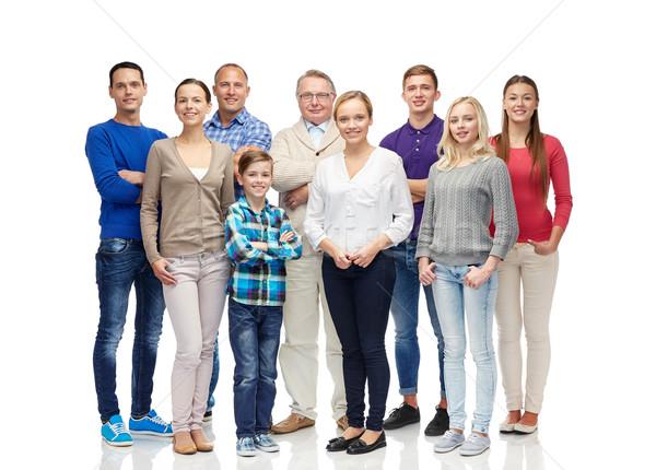 Grup gülen insanlar aile cinsiyet nesil Stok fotoğraf © dolgachov