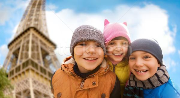 группа счастливым детей Эйфелева башня детство Сток-фото © dolgachov