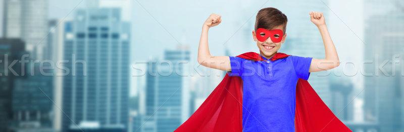 Jongen Rood masker tonen carnaval Stockfoto © dolgachov