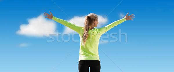 Photo stock: Heureux · femme · soleil · liberté