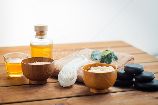 close up of scrub, massage oil and bath stuff Stock photo © dolgachov