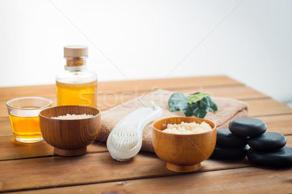 Közelkép bozót masszázsolaj fürdőkád szépségszalon test Stock fotó © dolgachov