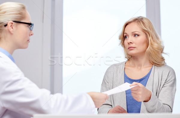 Doktor reçete kadın hastane tıp sağlık Stok fotoğraf © dolgachov