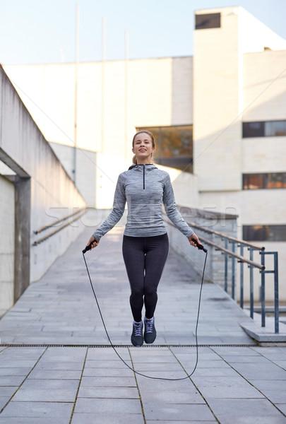 Boldog nő testmozgás kint fitnessz sport Stock fotó © dolgachov