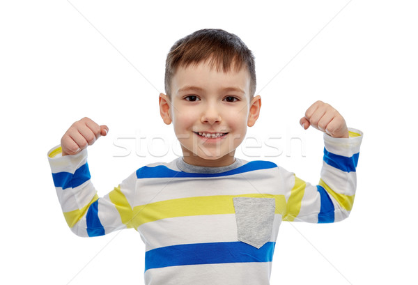 happy smiling little boy with raised hand Stock photo © dolgachov