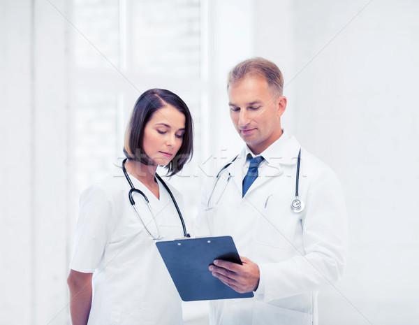 Iki doktorlar yazı reçete sağlık tıbbi Stok fotoğraf © dolgachov