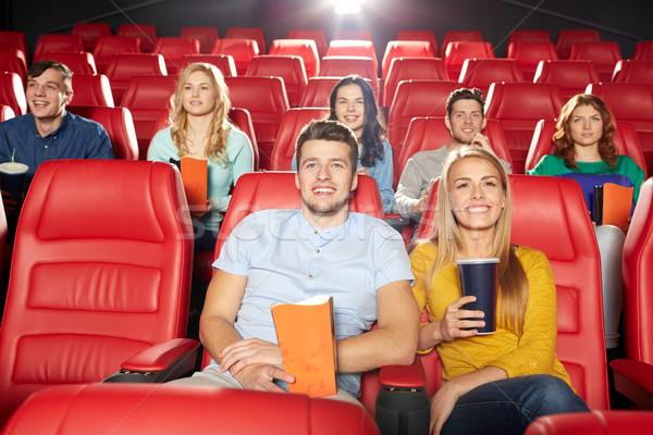 Stock fotó: Boldog · barátok · néz · film · színház · mozi