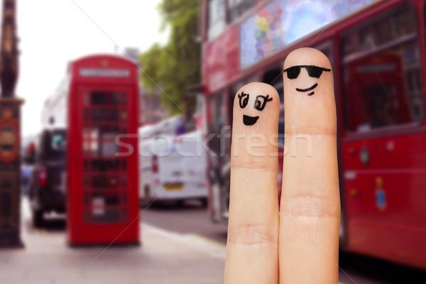 Twee vingers gezichten familie Stockfoto © dolgachov