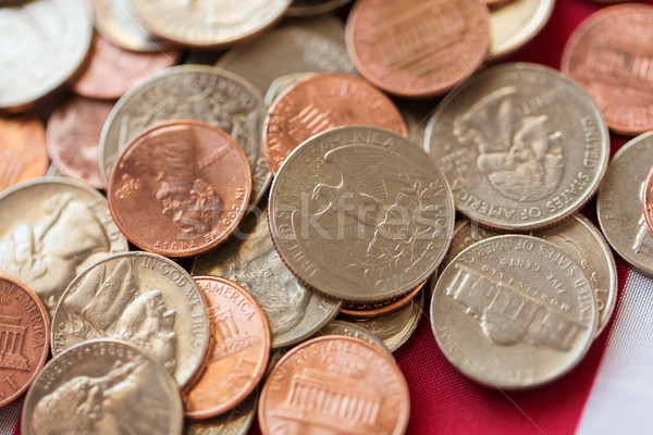 close up of american coins or money Stock photo © dolgachov
