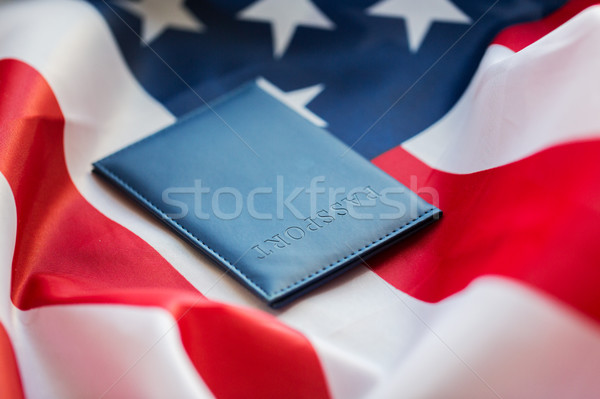 close up of american flag and passport Stock photo © dolgachov