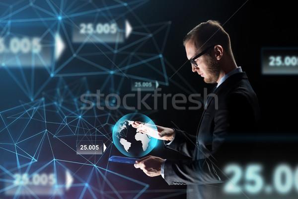 Empresário terra holograma pessoas de negócios rede Foto stock © dolgachov