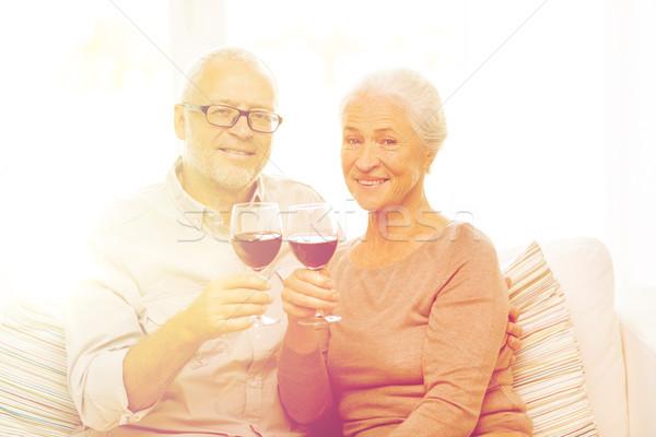 Stock fotó: Boldog · idős · pár · szemüveg · vörösbor · család · ünnepek