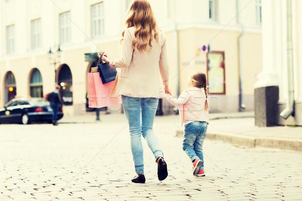 ストックフォト: 母親 · 子 · ショッピング · 市 · 販売