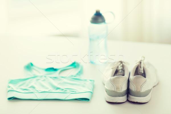 Közelkép női sportruházat üveg szett sport Stock fotó © dolgachov