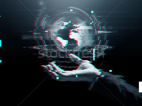 Empresário mão virtual terra projeção negócio Foto stock © dolgachov