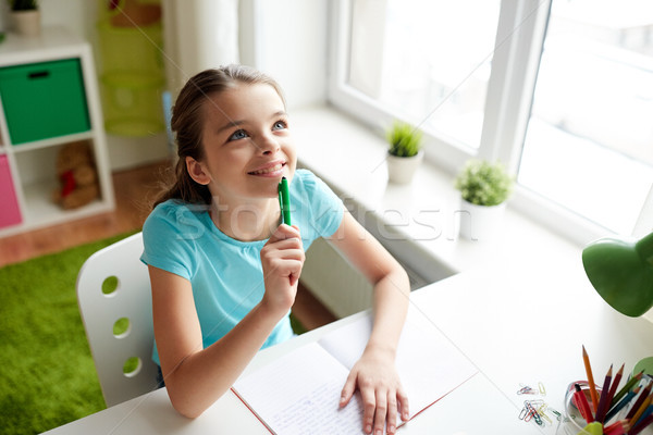 happy girl with notebook dreaming at home Stock photo © dolgachov