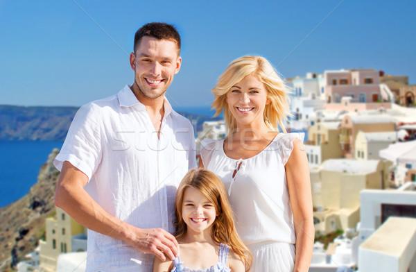 Boldog család Santorini sziget turizmus utazás emberek Stock fotó © dolgachov