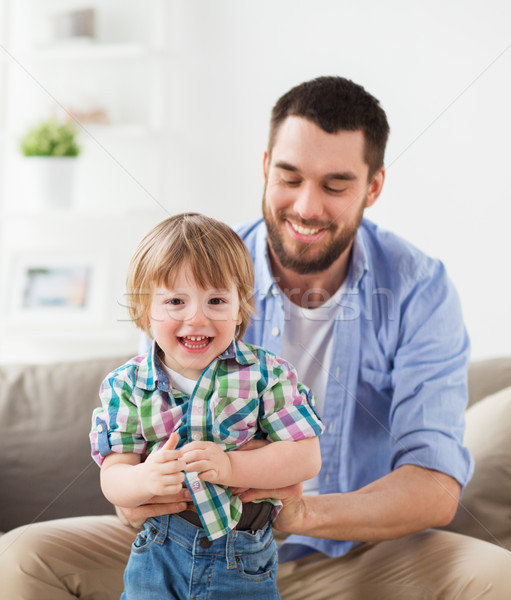 Stock photo: happy father with little son at home