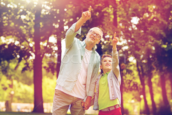 Großvater Junge Hinweis up Sommer Park Stock foto © dolgachov