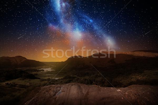 Dağ manzara gece gökyüzü uzay doğa astronomi Stok fotoğraf © dolgachov