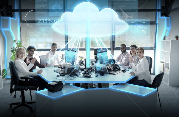 Mutlu iş ekibi hologram gelecek teknoloji Stok fotoğraf © dolgachov