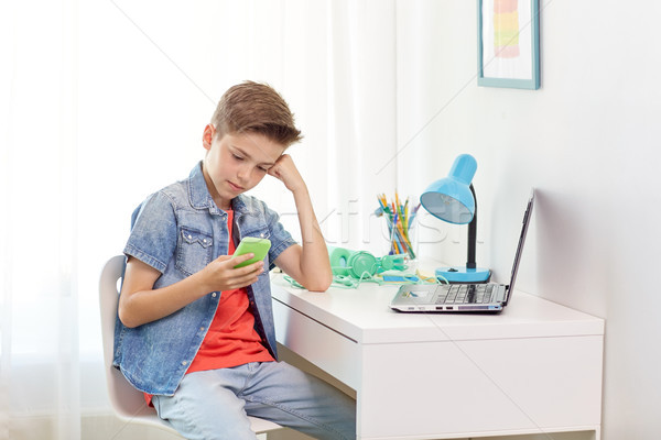 boy with smartphone being bullied by text message Stock photo © dolgachov