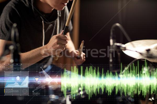 男性 ミュージシャン 演奏 ドラム キット コンサート ストックフォト © dolgachov