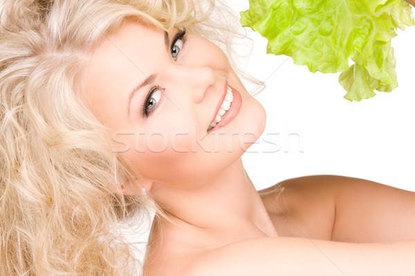 Stok fotoğraf: Mutlu · kadın · marul · resim · beyaz · yaprakları