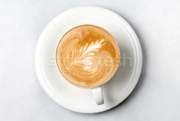 Profi barista kávéscsésze márvány asztal bár Stock fotó © dolgachov