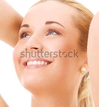 Vrouw heldere foto witte handen gezicht Stockfoto © dolgachov