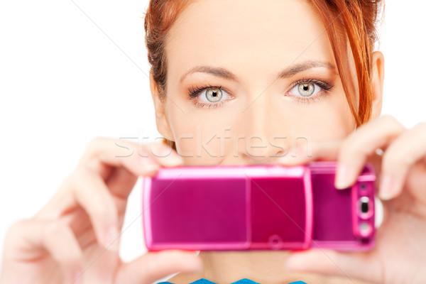 ストックフォト: 幸せ · 女性 · 電話 · カメラ · 画像 · 顔