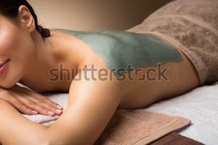 Ontspanning Blauw water foto topless meisje Stockfoto © dolgachov