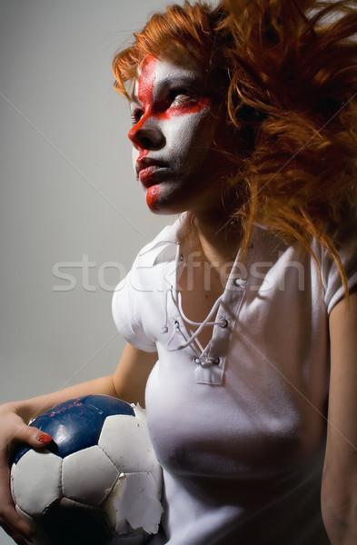 Para a frente inglês futebol make-up menina Foto stock © dolgachov