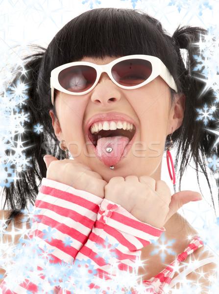 Stockfoto: Roze · gestreept · meisje · portret · asian · sneeuwvlokken