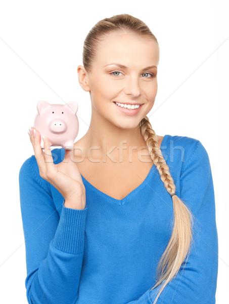 Femme tirelire photos affaires Finance porc Photo stock © dolgachov