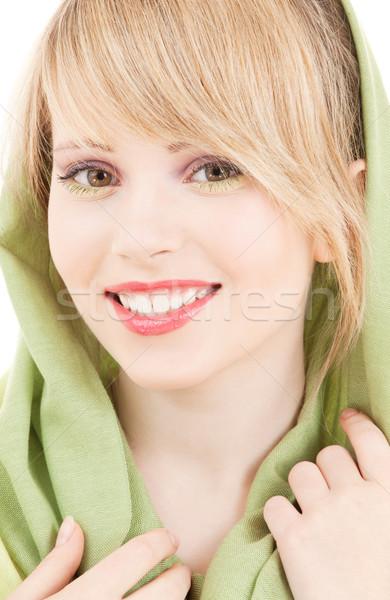 Yeşil başörtü resim genç kız kadın yüz Stok fotoğraf © dolgachov