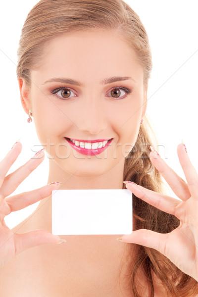 Foto stock: Niña · feliz · tarjeta · de · visita · enfoque · manos · negocios · mujer