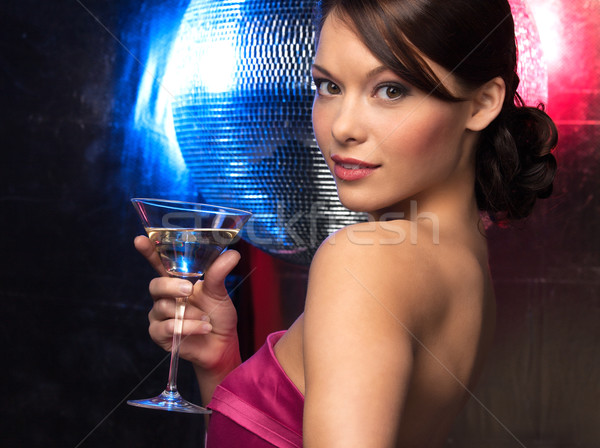 Vrouw cocktail disco ball mooie vrouw avondkleding partij Stockfoto © dolgachov