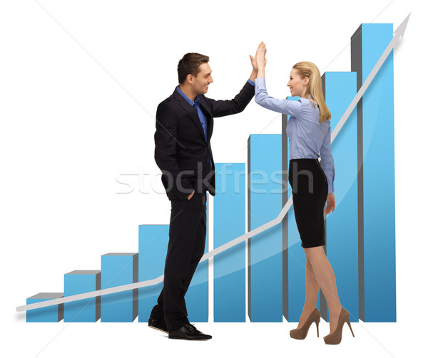 woman and man with 3d graphics Stock photo © dolgachov
