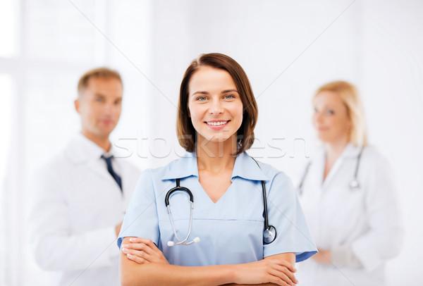 молодые женщины врач стетоскоп здравоохранения медицинской Сток-фото © dolgachov