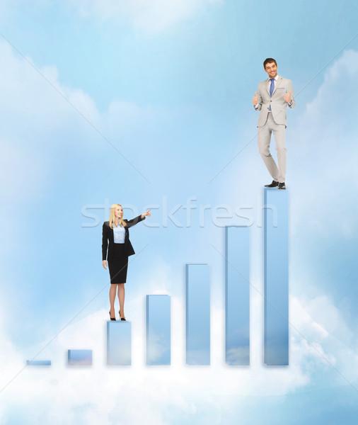 üzletasszonyok nagy 3D diagram üzlet siker Stock fotó © dolgachov
