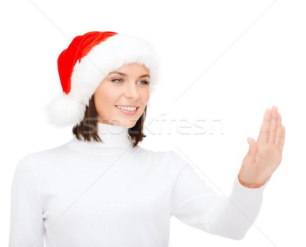 женщину помощник Hat кнопки Сток-фото © dolgachov