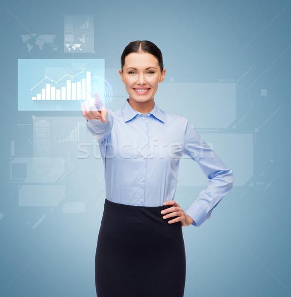 улыбаясь деловая женщина указывая пальца кнопки бизнеса Сток-фото © dolgachov