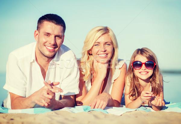 Famiglia felice spiaggia estate vacanze bambini persone Foto d'archivio © dolgachov
