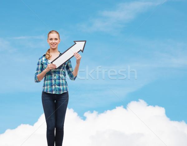 Mosolyog fiatal nő nyíl felfelé boldogság oktatás Stock fotó © dolgachov