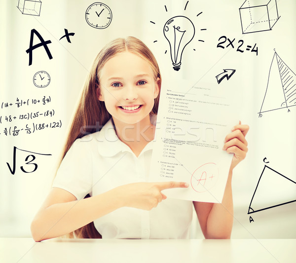 girl with test and A grade at school Stock photo © dolgachov